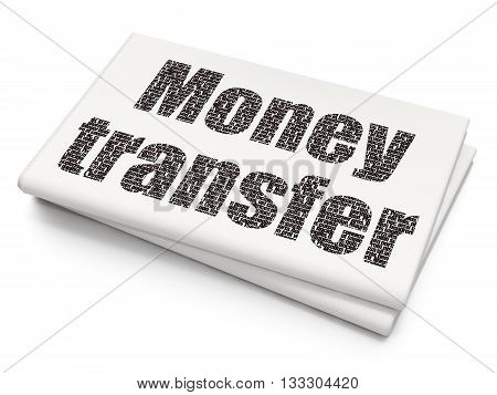 Money concept: Pixelated black text Money Transfer on Blank Newspaper background, 3D rendering