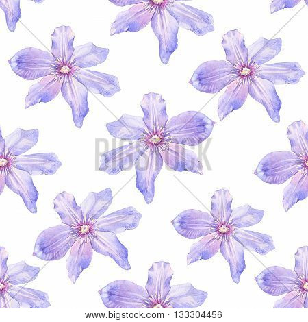 Spring Seamless Background With Watercolor Clematis.