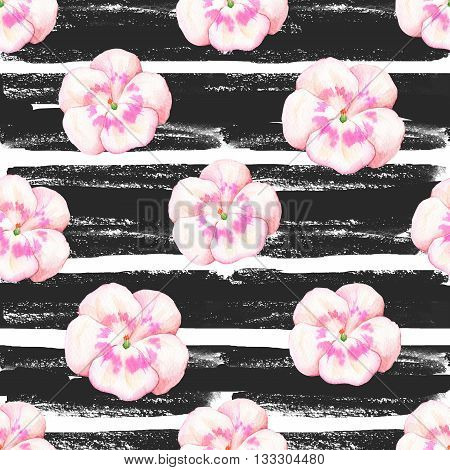 Floral pattern with wild flowers on a striped black and white background for your design and decor.