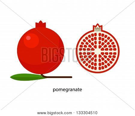 Red pomegranate with green leaf and its cross-section