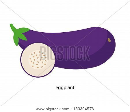 Purple eggplant with  green tail and its cross section