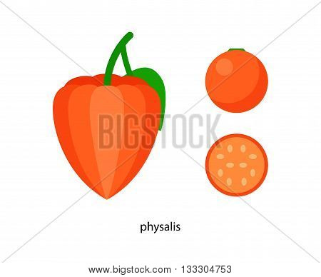 Orange physalis with green leaf and its cross - section