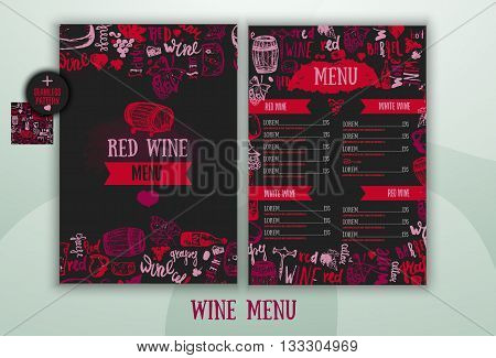 Wine list Template with hand drawn illustration and lettering. Wine signs - bottle, glass, grape, grape leaf, cheese. Can be used for wrapping, banners
