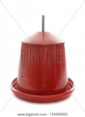red chicken feeder in front of white background