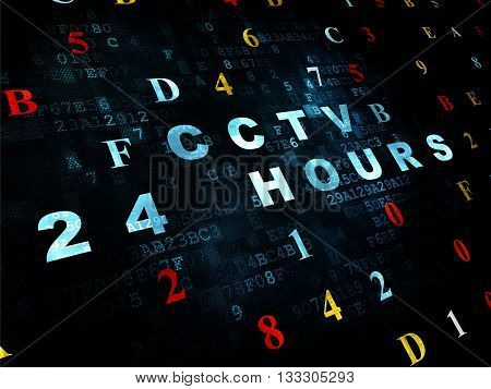 Safety concept: Pixelated blue text CCTV 24 hours on Digital wall background with Hexadecimal Code