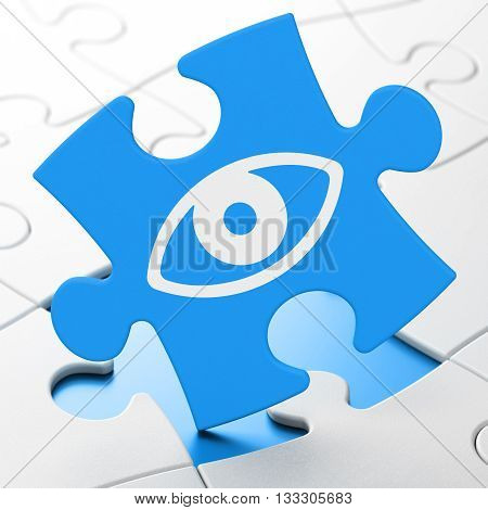 Safety concept: Eye on Blue puzzle pieces background, 3D rendering