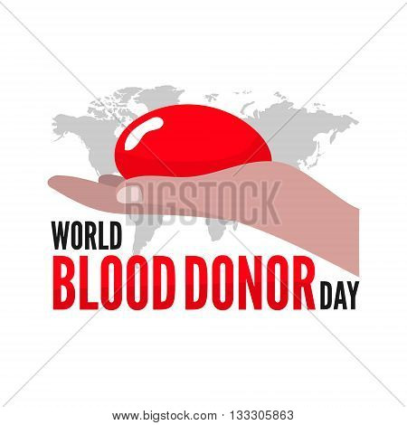 World blood donor day. Vector greeting card. Flat illustration.