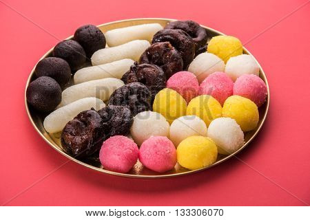Gulab Jamun or kala jamun or kala jam, khoya jalebi or black jalebi and Chum Chums or multicolour rassgulla or rasagulla, famous bengali sweets