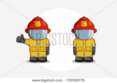 Vector Hand Drawn Illustration. Two Isolated Character Firefighter In Protective Suit Stands And Rai