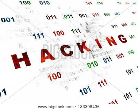 Protection concept: Pixelated red text Hacking on Digital wall background with Binary Code