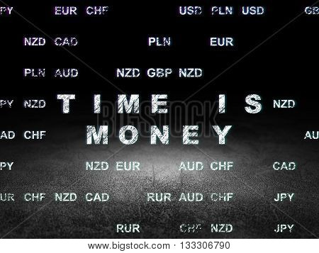 Finance concept: Glowing text Time is Money in grunge dark room with Dirty Floor, black background with Currency