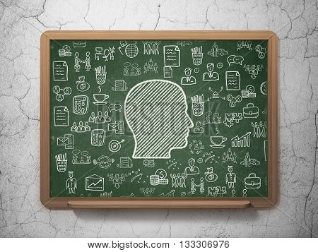 Finance concept: Chalk White Head icon on School board background with  Hand Drawn Business Icons, 3D Rendering