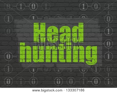 Finance concept: Painted green text Head Hunting on Black Brick wall background with Scheme Of Binary Code