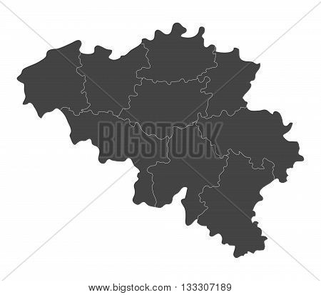 Map of Belgium with regions illustrated on a white background