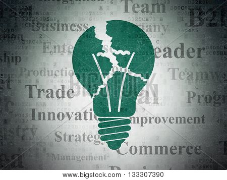 Business concept: Painted green Light Bulb icon on Digital Data Paper background with  Tag Cloud