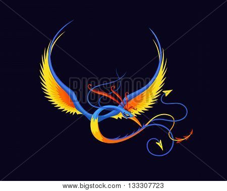Legless bird of paradise. Fantasy bird. Fantasy image. Fantasy vector illustration. Fantasy picture. Colored cartoon bird. Bird in flight. Flapping wings of a fantasy bird.