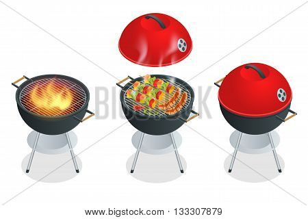 Barbecue design elements and barbecue grill summer food. Flat 3d vector isometric illustration