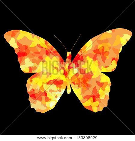 Colored Butterfly Icon Silhouette Vector Illustration EPS10