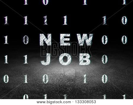 Business concept: Glowing text New Job in grunge dark room with Dirty Floor, black background with Binary Code