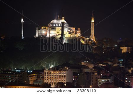 Hagia Sophia view from the galata tower. Istanbul, Turkey.