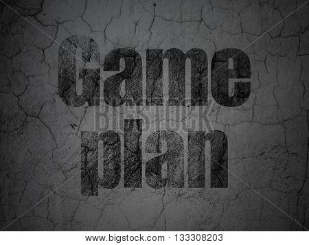 Business concept: Black Game Plan on grunge textured concrete wall background
