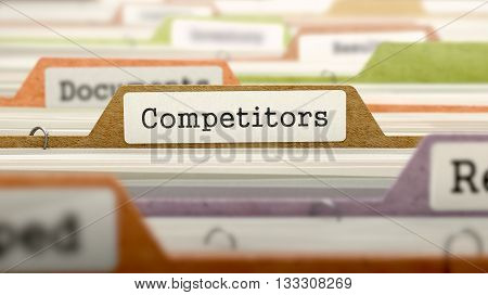 Competitors Concept on Folder Register in Multicolor Card Index. Closeup View. Selective Focus. 3D Render.