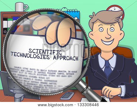 Scientific Technologies Approach. Business Man Holds Out Paper with text through Magnifying Glass. Colored Modern Line Illustration in Doodle Style.