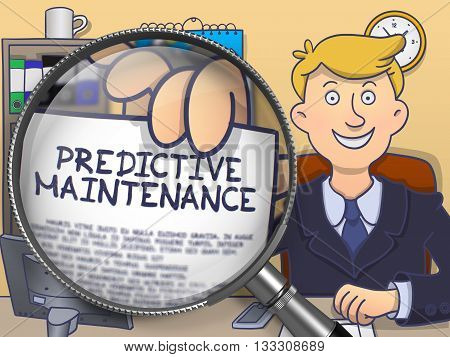 Predictive Maintenance on Paper in Businessman's Hand to Illustrate a Business Concept. Closeup View through Lens. Colored Doodle Illustration.