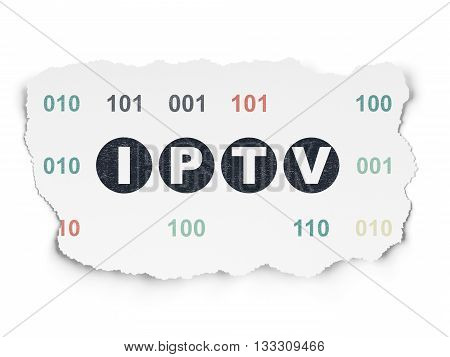 Web development concept: Painted black text IPTV on Torn Paper background with  Binary Code