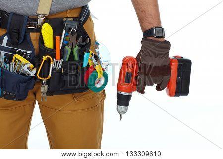 Builder handyman with drill.