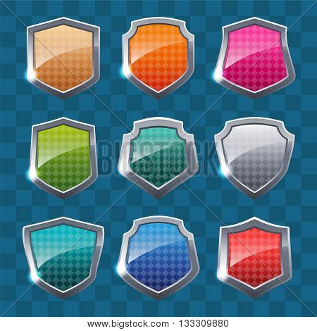 Collection of colorful shields on colorful background. Security symbol. Vector illustration.
