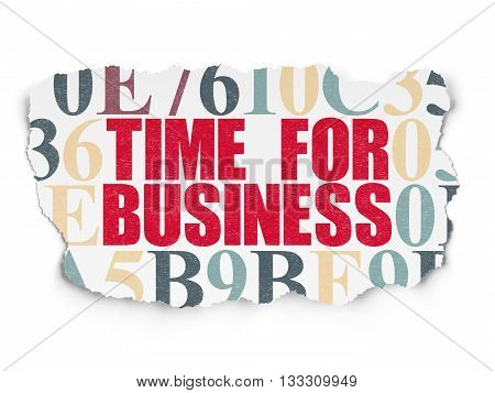 Time concept: Painted red text Time for Business on Torn Paper background with  Hexadecimal Code