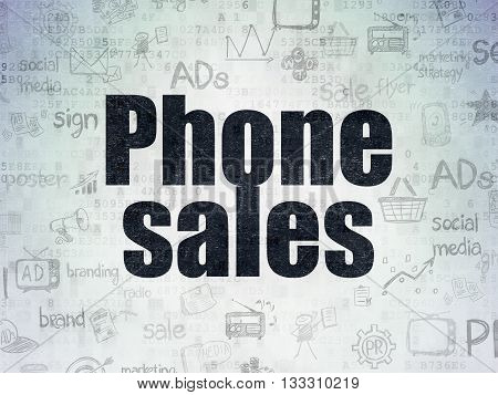 Marketing concept: Painted black text Phone Sales on Digital Data Paper background with   Hand Drawn Marketing Icons