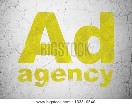 Marketing concept: Yellow Ad Agency on textured concrete wall background