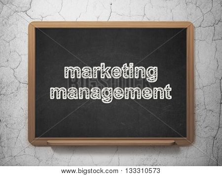 Advertising concept: text Marketing Management on Black chalkboard on grunge wall background, 3D rendering