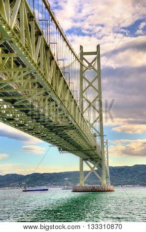 Akashi Kaikyo suspension bridge in Kobe, Japan