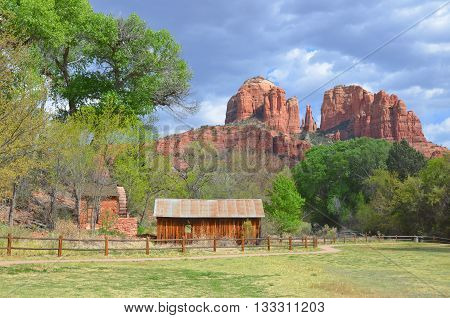SEDONA, ARIZONA USA APRIL 23: Little farm near Red Rock State Park is a state park of Arizona, USA, featuring a red sandstone canyon outside the city of Sedona.