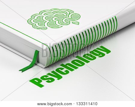 Medicine concept: closed book with Green Brain icon and text Psychology on floor, white background, 3D rendering