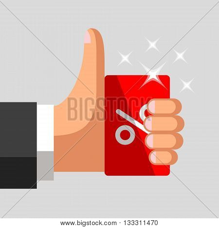 Plastic discount card with percent sign in hand of businessman. Thumb up gesture. Profitable card concept