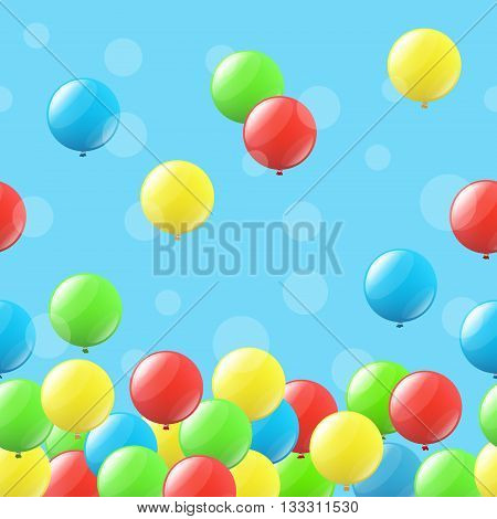 Seamless festive background with many colored balloons
