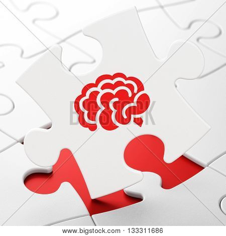 Health concept: Brain on White puzzle pieces background, 3D rendering