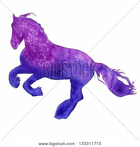 silhouette of a horse in motion. isolated. watercolor illustration