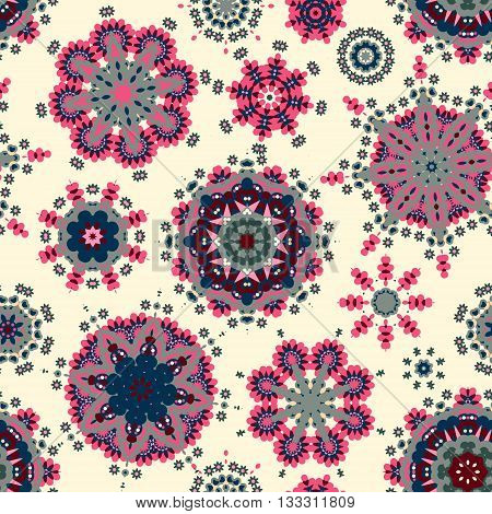 Ethnic pattern in blue pink color with stylized flowers, leaves and circular shapes with Kazakh, Turkish, Uzbek motifs Seamless vector texture for print, spring summer fashion, fabric, textile