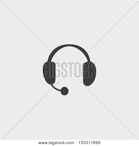 Headphones with microphone icon in a flat design in black color. Vector illustration eps10