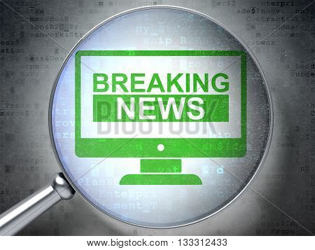 News concept: magnifying optical glass with Breaking News On Screen icon on digital background, 3D rendering