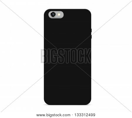 Blank black phone case mock up stand isolated 3d illustration. Empty smart phone cover mockup ready for logo texture print presentation. Cellphone protector cover concept. Smartphone casing design. Plastic container