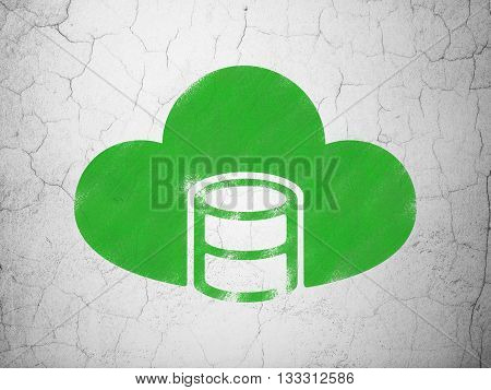 Cloud computing concept: Green Database With Cloud on textured concrete wall background