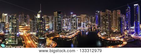 Nighttime panoramic view of Dubai Marina, UAE