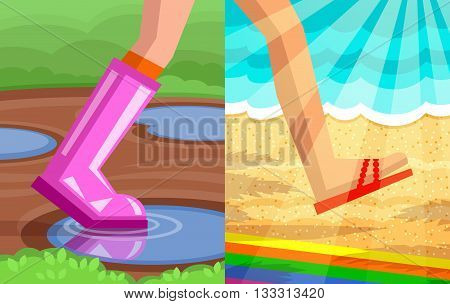 Legs of walking person. One foot in rubber shoe with puddles and ground on background, another foot in slipper on beach and sea background in sunshine. Step from spring to summer concept