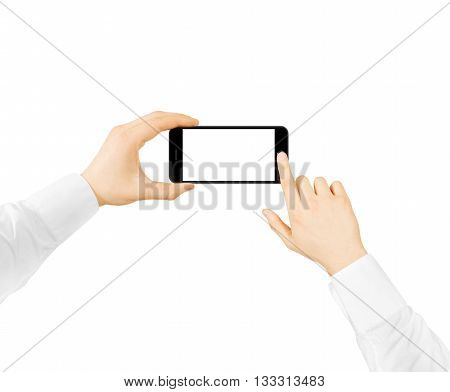 Man hold phone blank screen mockup in two hands, press the button, taking photo, making selfie. Hand holding smartphone horizontal with camera, empty display mock up click